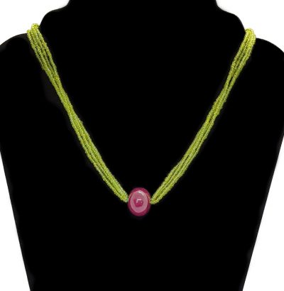 Natur Peridot Collier mit Rubin-Perle handgefertigt - Schmuck - Unikat