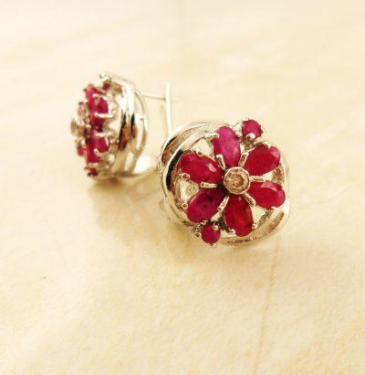 Rubin Blüten Ohrringe - Einzelstück Schmuck