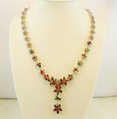 Turmalin Granat Blüten Collier - Einzelstück Schmuck