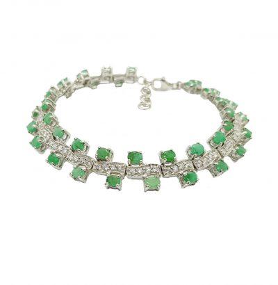 Exquisites Smaragd Armband Sterlingsilber vergoldet Schmuck Einzelstück grün