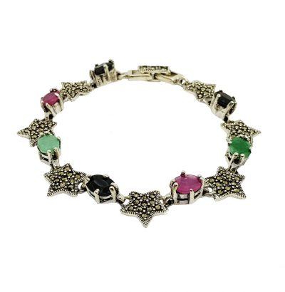 Smaragd Rubin Saphir Markasit Armband - Schmuck - Sterne