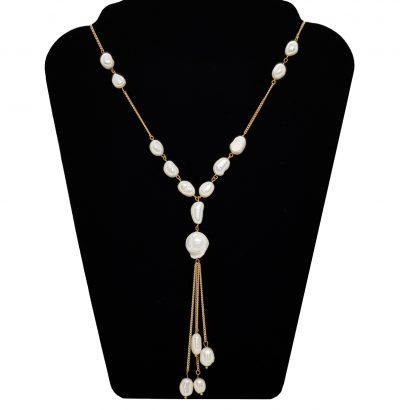Halskette mit Barockperlen - Schmuck - Messing - Einzelstück