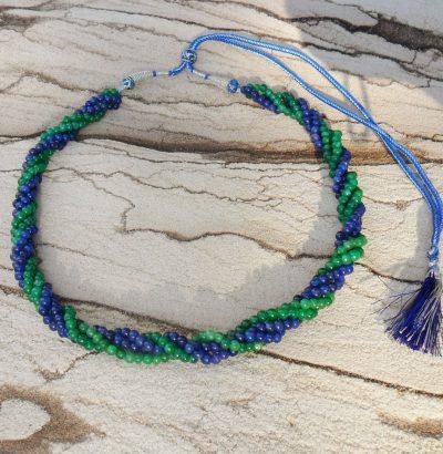 Natur Saphir Smaragd Collier