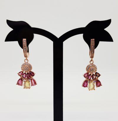 Exquisite Feueropal Turmalin Ohrringe vergoldet Roségold Schmuck
