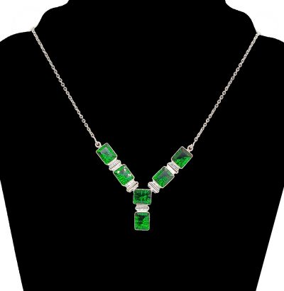 Exquisites Smaragd Collier Sterlingsilber Schmuck Einzelstück