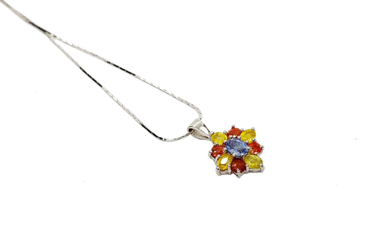 Blütenschmuck - Saphir Blüten Collier