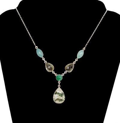 Ozean Jaspis Collier Sterlingsilber Schmuck Einzelstück