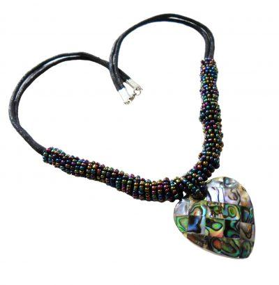 Collier mit Paua Abalone Herz - Schmuck - Einzelstück - Handgefertigt