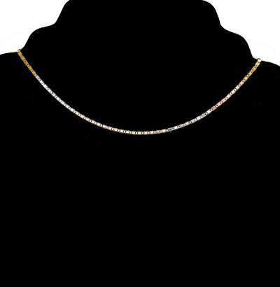 Exquisite italienische Halskette tricolor - vergoldet Schmuck