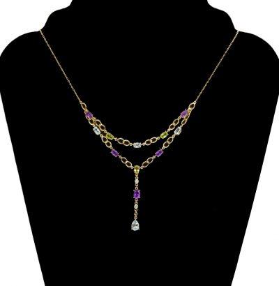 Amethyst Peridot Topas Diamant Collier - Einzelstück Schmuck