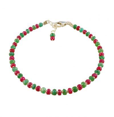 Facettiertes Rubin Smaragd Armband handgefertigt Schmuck