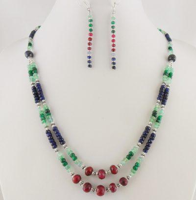 Exquisites Rubin Smaragd Saphir Schmuckset - handgefertigt Einzelstück Schmuck