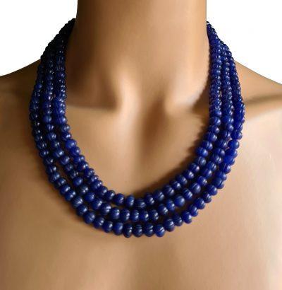 Natur Saphir Collier - handgefertigtes Schmuckstück Schmuck blau