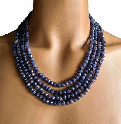 Natur Saphir Collier handgefertigt Schmuck blau