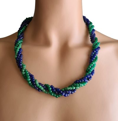 Natur Saphir Smaragd Collier handgefertigt Schmuck