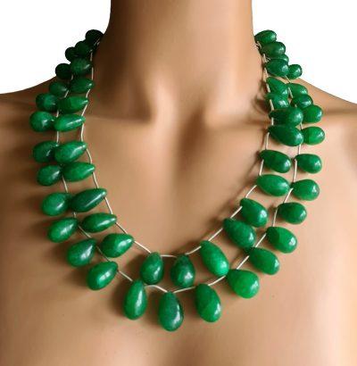 """Natur Smaragd Collier """"Pear"""" handgefertigt Schmuck grün"""