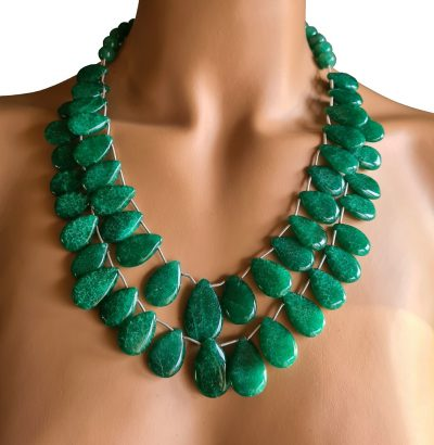 Natur Smaragd Collier - Schmuck - Unikat - handgefertigt - grün