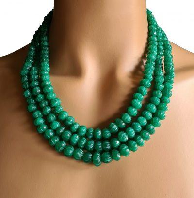 Natur Smaragd Collier - handgefertigt Einzelstück Schmuck