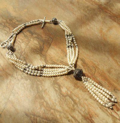 Perlen Collier versilbert - Einzelstück Schmuck