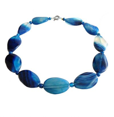 """Handgefertigtes Achat Collier """"Blue"""" - Einzelstück Schmuck"""