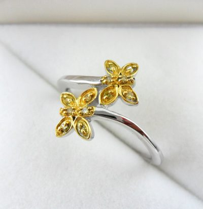 "Diamant Ring ""Butterfly"" Sterlingsilber vergoldet"