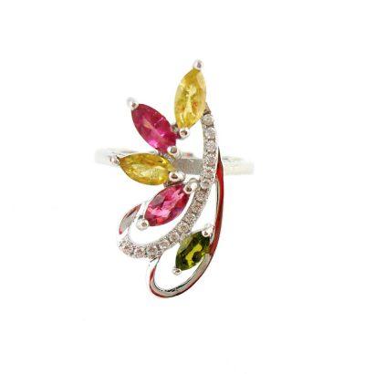 Eleganter Turmalin Ring Multicolor Sterlingsilber vergoldet Schmuck Einzelstück
