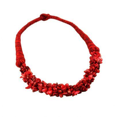 Handgefertigtes Korallen Collier Einzelstück Schmuck rot