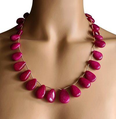 """Natur Rubin Collier """"Pear"""" handgefertigt Einzelstück Schmuck rot"""