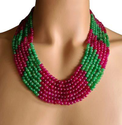Natur Smaragd Rubin Collier handgefertigt Einzelstück Schmuck rot grün