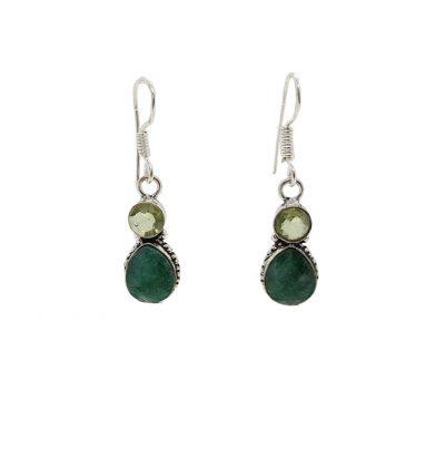 Smaragd Ohrhänger mit grünem Quarz versilbert Schmuck grün