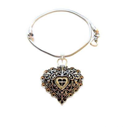 Halskette mit Herz Anhänger - versilbert Einzelstück Schmuck