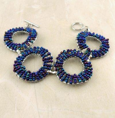 Armband mit multicolor Glas-Perlen handgefertigt - Schmuck