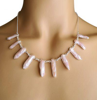 Biwa Perlen Collier - Sterlingsilber Pink Einzelstück Schmuck