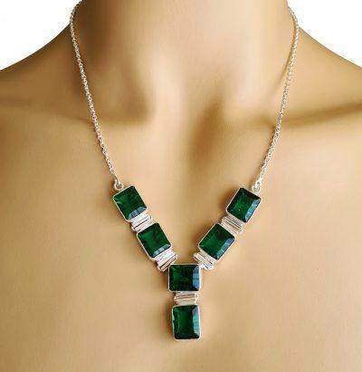 Exquisites Smaragd Collier Sterlingsilber Schmuck Einzelstück grün