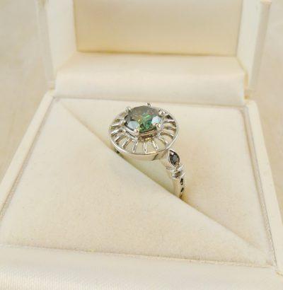 Handgefertigter Moissanit Ring mit Diamanten 56 Sterlingsilber Verlobungsring Schmuck