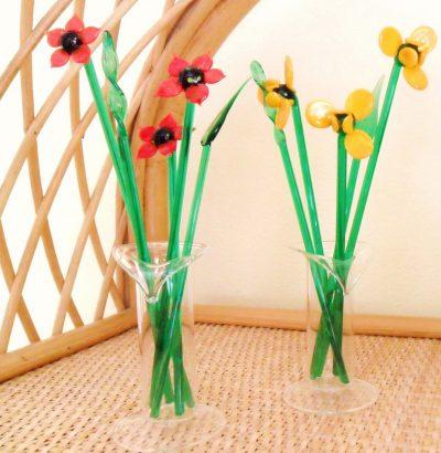 Handbemaltes Glasblumen-Set Geschenk Geschenkidee