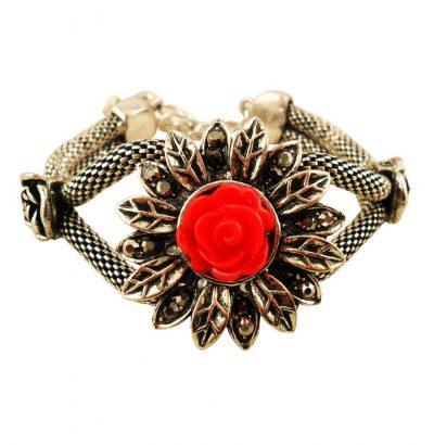 Koralle Markasit Blüten Armband handgefertigt versilbert Armschmuck Schmuck