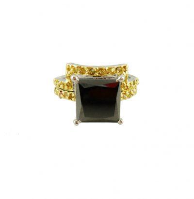 "Moissanit Ring Set mit Rohdiamanten ""Black & Gold"" Verlobungsring 55 handgefertigt Sterlingsilber Damenring Schmuck"