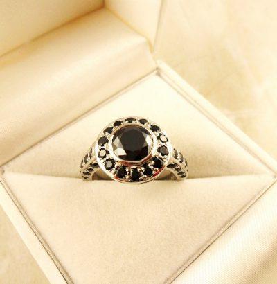 Moissanit Ring mit Cubic Zirkonia handgefertigt Sterlingsilber 59 Einzelstück Verlobungsring Schmuck