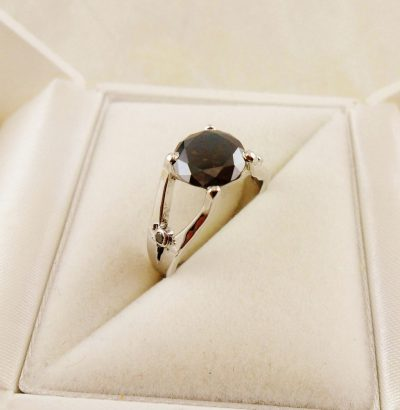 "Moissanit Ring mit Diamanten ""Brown & Black"" 56 handgefertigt Sterlingsilber Verlobungsring Schmuck"