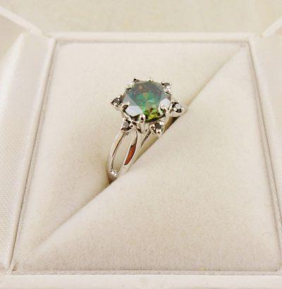 Grüner Moissanit Ring mit schwarzen Diamanten 55 handgefertigt Sterlingsilber Verlobungsring Damenring Schmuck