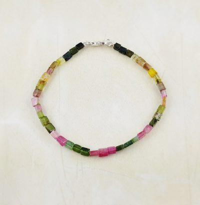 Natur Turmalin Armband multicolor handgefertigt Sterlingsilber unisex Schmuck Einzelstück