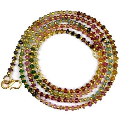 Multicolor Turmalin Kette - handgefertigt Sterlingsilber Einzelstück Schmuck
