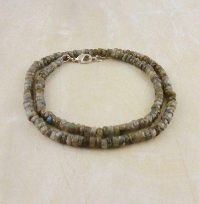 Natur Labradorit Halskette - handgefertigt Einzelstück unisex Schmuck