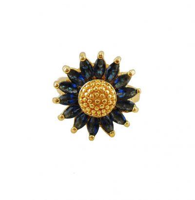 Blüten Ring mit blauem Quarz - Einzelstück Schmuck