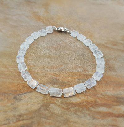 Natur Regenbogen-Mondstein Armband handgefertigt Sterlingsilber unisex - Einzelstück Schmuck