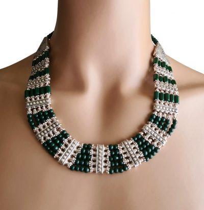 Versilbertes Smaragd Collier - Einzelstück Schmuck