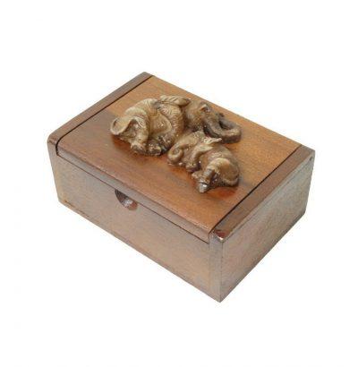 Handgefertigte Teakholz Box mit Elefanten - Geschenk Geschenkidee