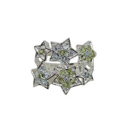 """Topas Peridot Ring """"Stars"""" Sterlingsilber vergoldet Größe 53 Einzelstück Schmuck"""