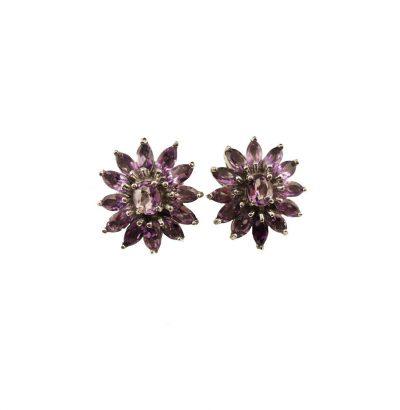 Vergoldete Amethyst Blüten Ohrringe Einzelstücke Schmuck